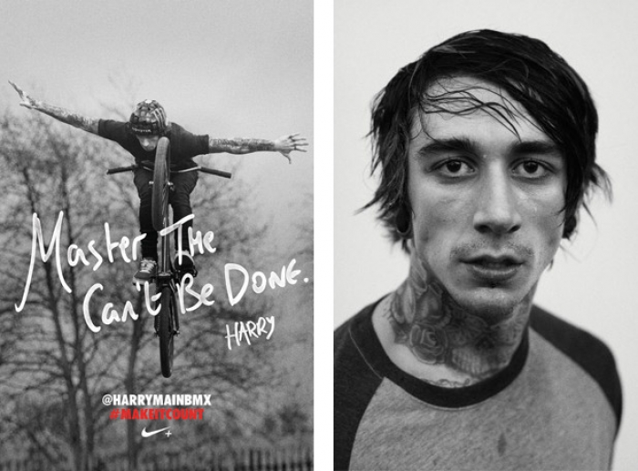 A Nike advert with a picture of a BMX and the slogan 'Master The Can't Be Done'.