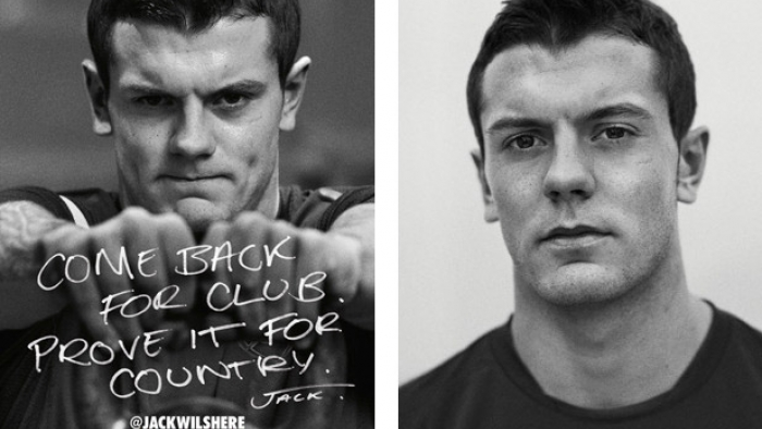 A Nike advert with a two photos of a rugby player.