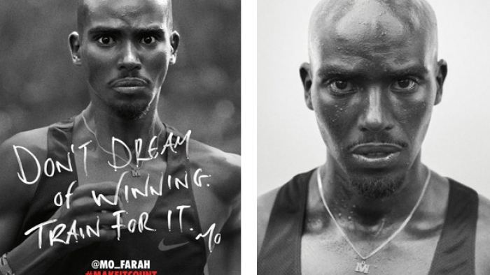 A Nike advert with two photos of Mo Farah.