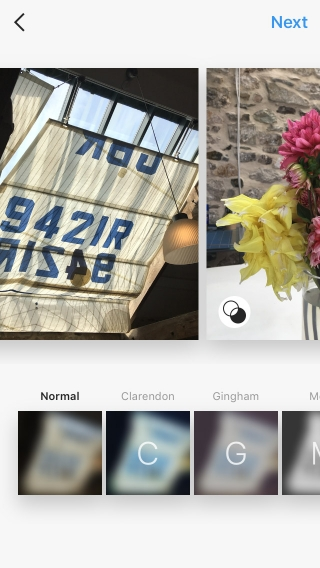 Images of a yacht-sail curtain and a vase of flowers being uploaded onto Instagram.