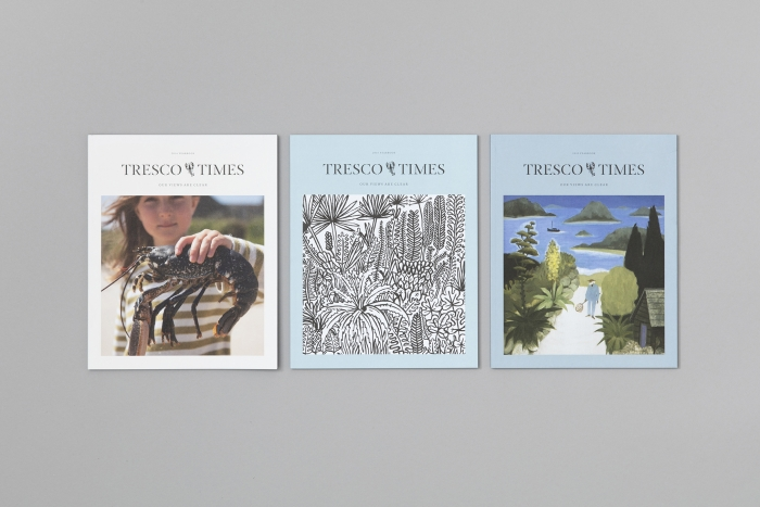 Three issues of Tresco Times, designed by Nixon Design.