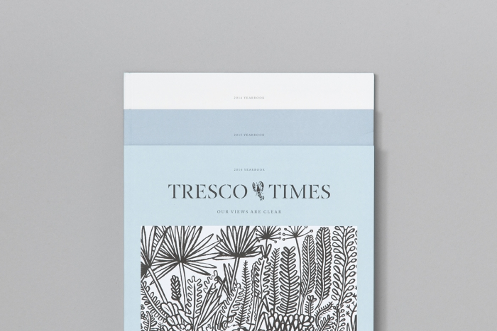 A stack of three issues of Tresco Times.