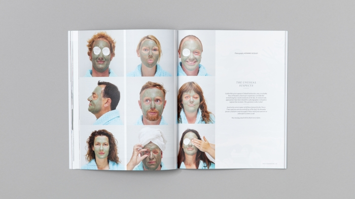 A double spread in Tresco Times, featuring people with moisturising face masks on.