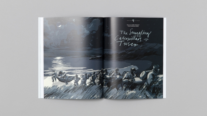 An illustrated double page in the Tresco Times magazine.