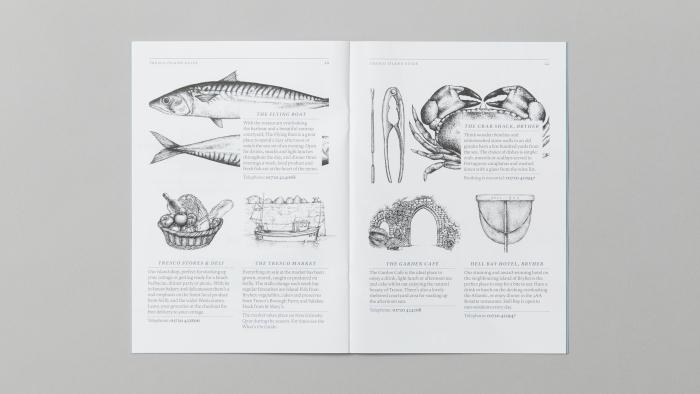 A double-page spread on food in the Tresco Island guide.