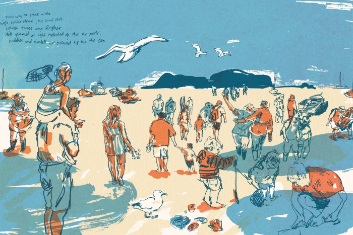 An illustration of people walking on the sand between Tresco and Bryher islands.