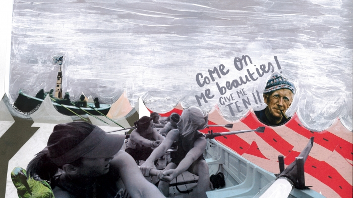 A photo-illustration collage of women rowing a pilot gig boat.