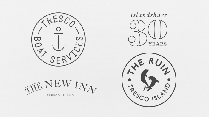 Four sub-brand logos that fit underneath Tresco Island, including Tresco Boat Services, Islandshare, The New Inn and The Ruin.
