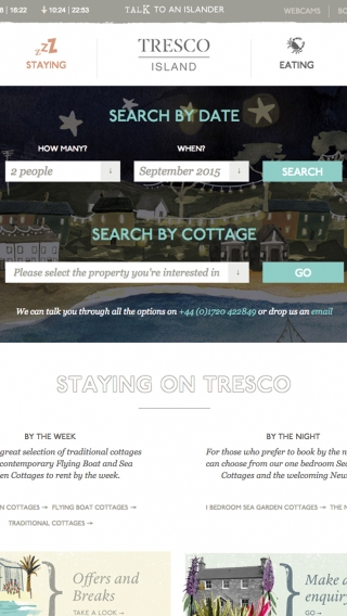 The cottages search page on the Tresco Island website, mocked up on tablet.