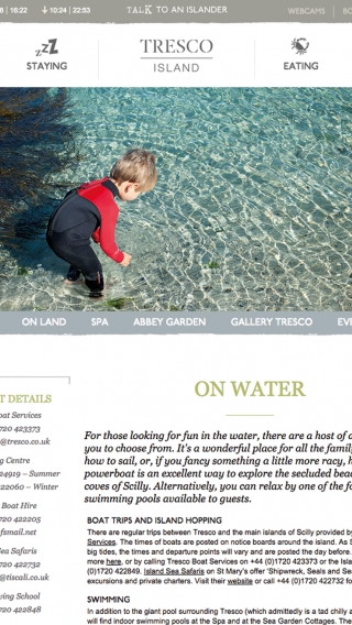 The 'On water' page from the Tresco Island website, mocked up on tablet.