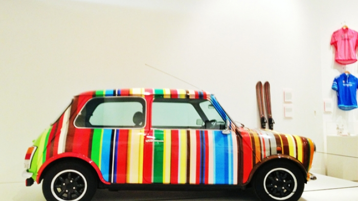 A multicoloured Mini Cooper.