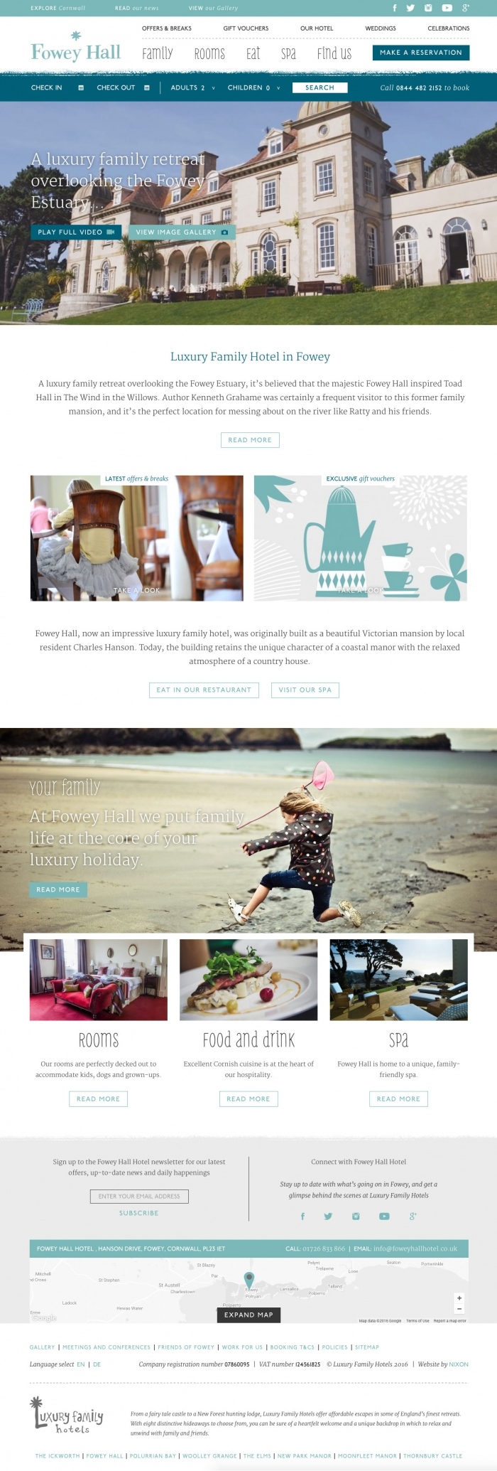 The Fowey Hall Hotel website homepage.