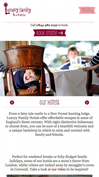 The Luxury Family Hotels website mocked up on mobile.