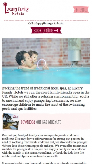 The spas page on the Luxury Family Hotels website mocked up on mobile.
