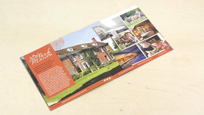 A double spread on New Park Manor in the Luxury Family Hotels brochure.