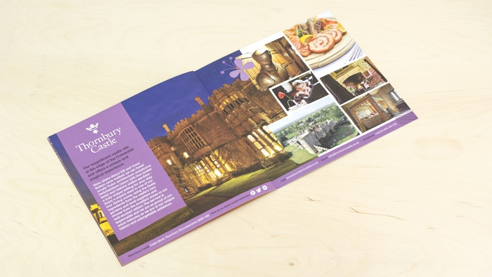 A double spread on Thornbury Castle in the Luxury Family Hotels brochure.