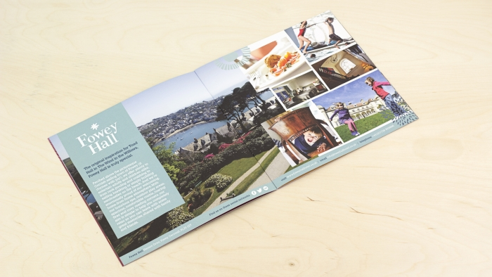 A double spread on Fowey Hall in the Luxury Family Hotels brochure.
