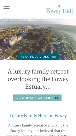 The Fowey Hall website mocked up on mobile.