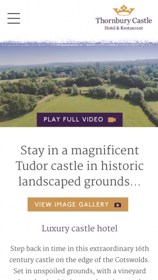 The Thornbury Castle website mocked up on mobile.
