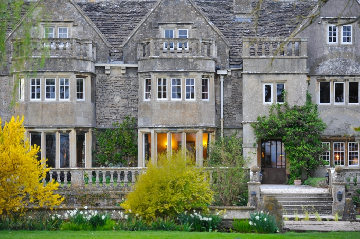The exterior of Woolley Grange Hotel, a Jacobean manor house hotel.
