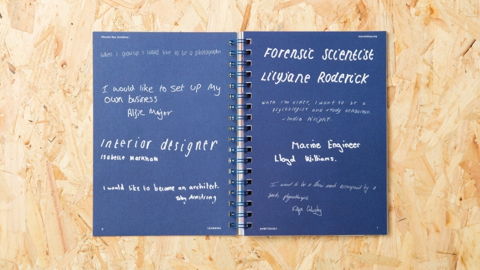 A spread filled with student quotes in the Mounts Bay Academy prospectus by Nixon Design.
