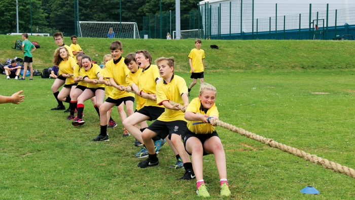 Mounts Bay students play tug of war at the school sports day.
