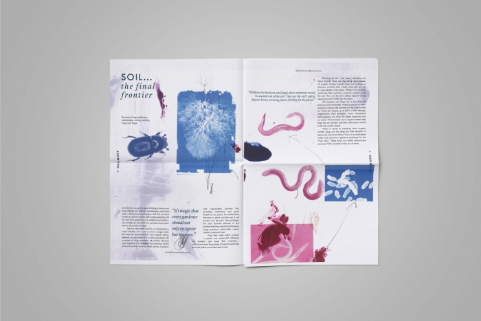 A double spread in Houmout, illustrated by Charlotte Humphries and designed by Nixon Design