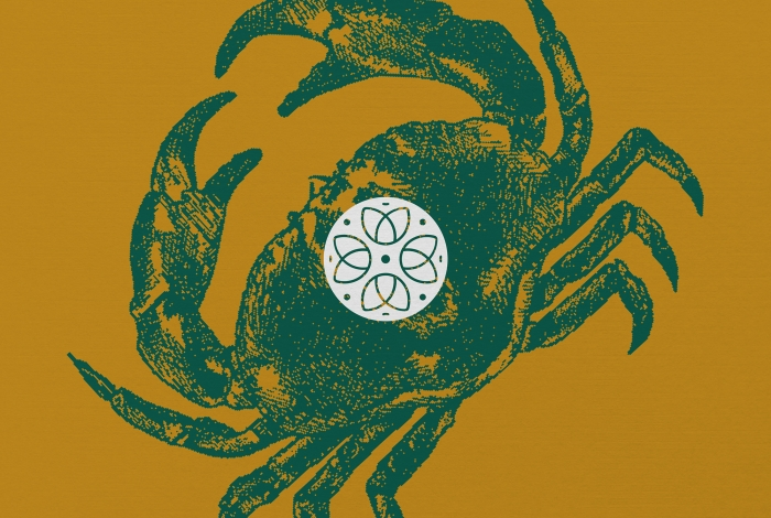 Illustration of a crab with the Lantic Bay logo