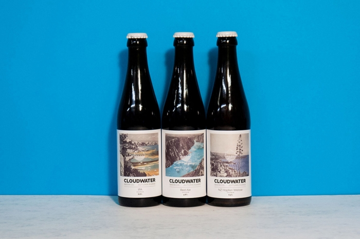 Cloudwater Brew Co beer bottles, label design by DR.ME and Textbook Studio