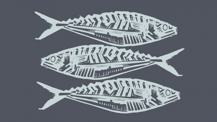 A linocut print of mackerel by Edward Farley