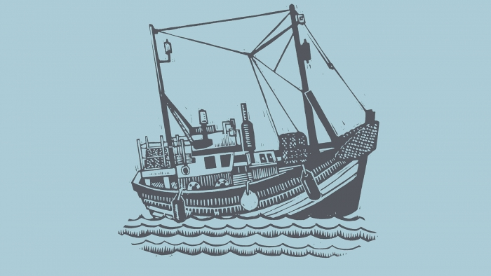 A linocut print of a ship by Edward Farley