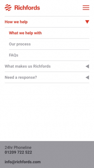 The Richfords website navigation mocked up on mobile.