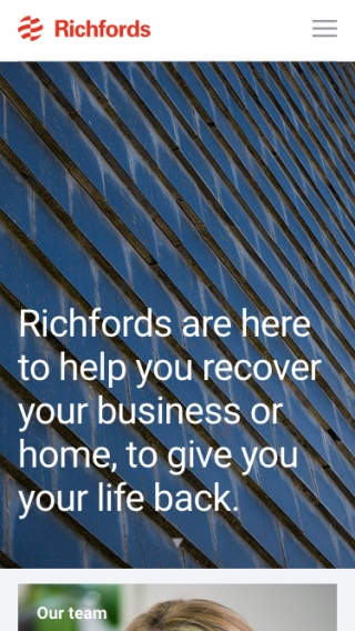 The Richfords website homepage mocked up on mobile.