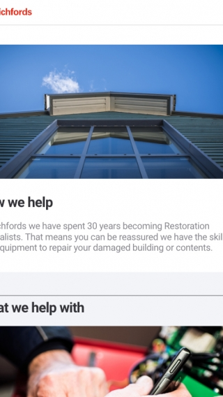 The Richfords 'How we help' page on their website, mocked up on tablet.