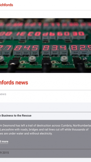 The news page on the Richfords website, mocked up on tablet.
