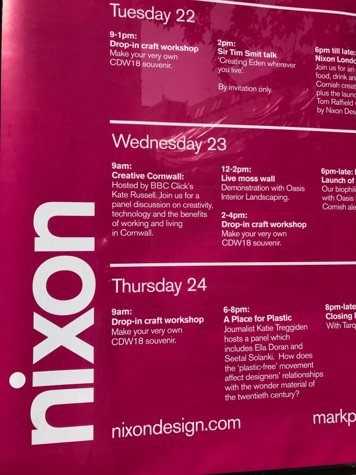 Programme of Cornish Clerkenwell Design Week events at the Nixon Design London studio.