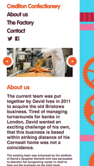 The about us page on the Crediton Confectionery website mocked up on smartphone.