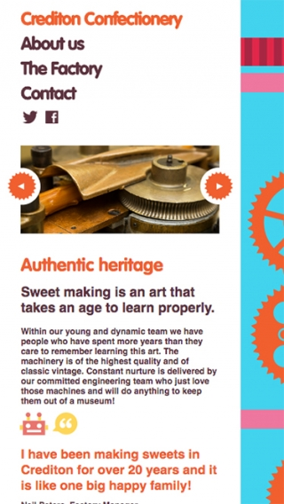 A page from the Crediton Confectionery website mocked up on iPhone.