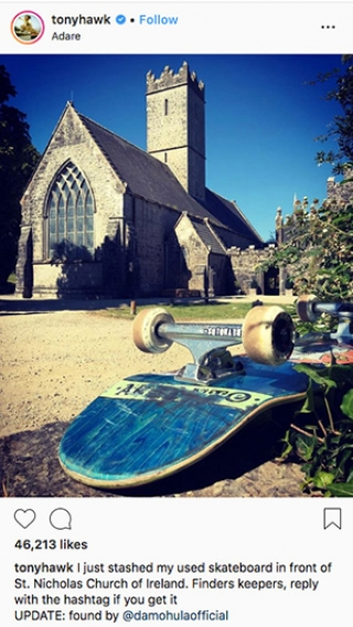 Tony Hawk skateboard hidden in Ireland
