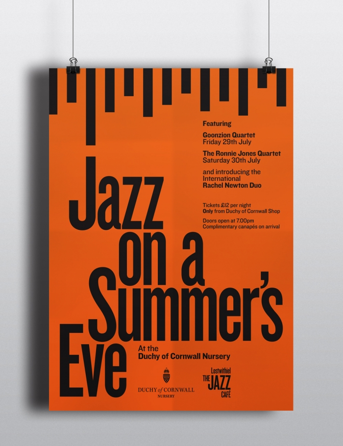 A poster reading 'Jazz on a summer's eve'.