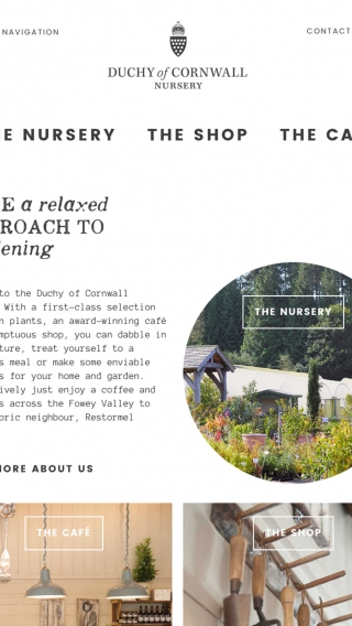 The Duchy of Cornwall Nursery website homepage mocked up on tablet.