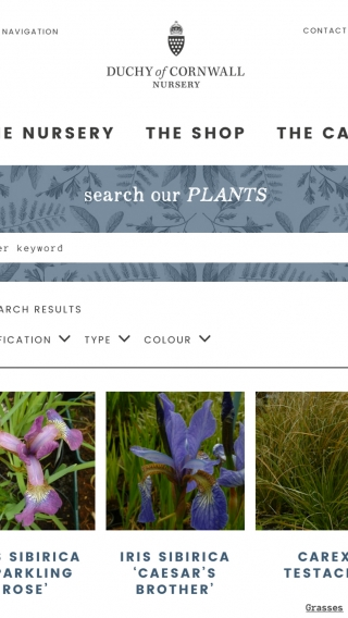 The Duchy of Cornwall Nursery website plant search mocked up on tablet.