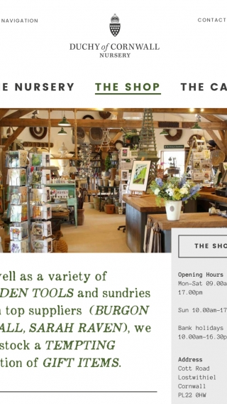The Duchy of Cornwall Nursery website shop page mocked up on tablet.