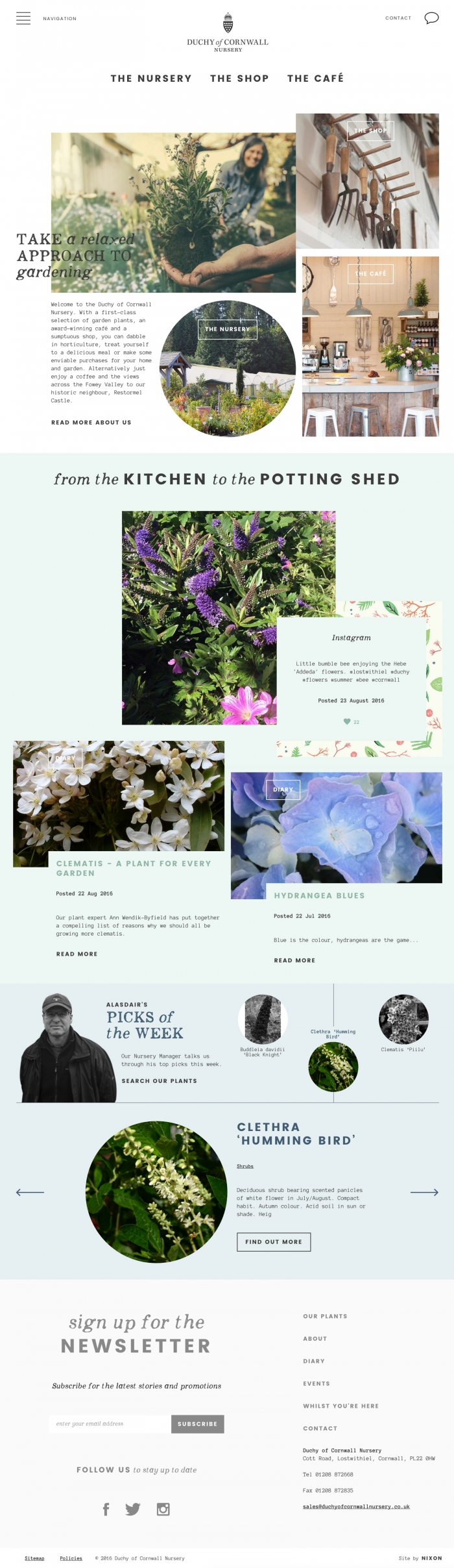 The Duchy of Cornwall Nursery website homepage.