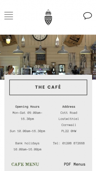 The Duchy of Cornwall Nursery website café page mocked up on mobile.