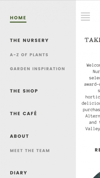 The Duchy of Cornwall Nursery website navigation mocked up on mobile.