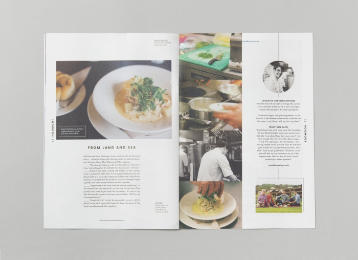 A double spread on food in Houmout – Duchy of Cornwall Nursery's gazette.