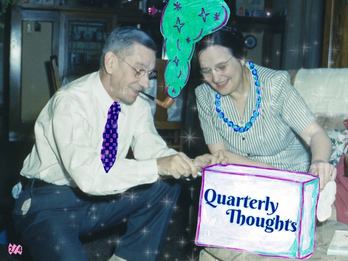 A man, smoking a pipe, and a woman looking at a box on which is written 'Quarterly Thoughts'.