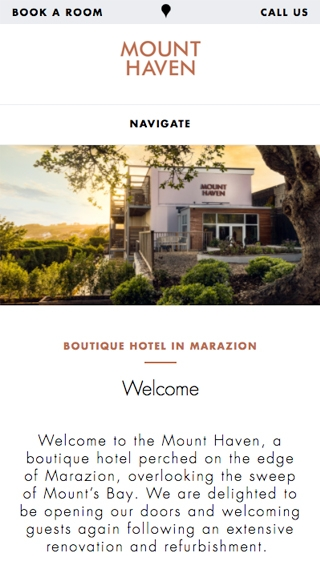 The Mount Haven Hotel website homepage on a mobile device.