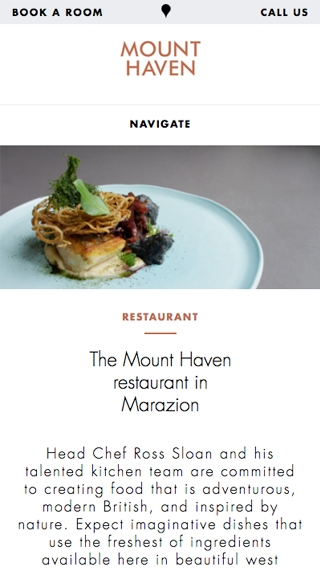 The Mount Haven Hotel restaurant page on a mobile phone.